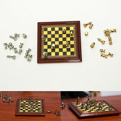 Lovely Mini Metal International Chess Set Model Toy Dollhouse Accessories New