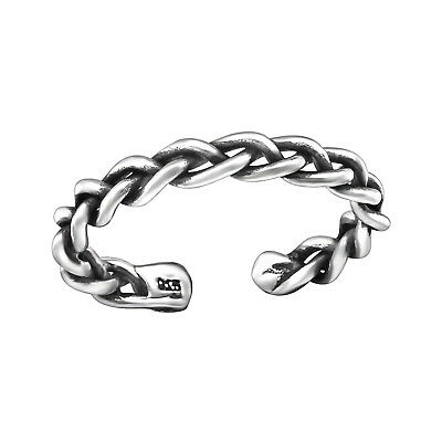 Tjs 925 Sterling Silver Toe Ring Rope Chain Band Adjustable Jewellery Oxidised Jewelry & Watches Toe Rings