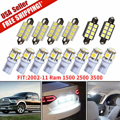 14x White Led Bulbs Interior Light Package Kit For 2002-11 Dodge Ram 1500 2500