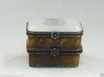 Vintage Handmade Old Bone Jade Carving Buddha & Bird Double Jewelry Box N
