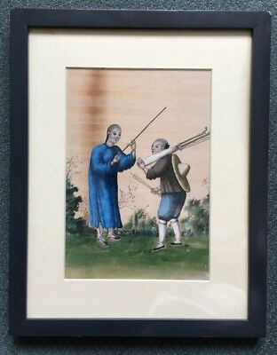 Chinese rice paper painting, tradesmen, earlier 19th century