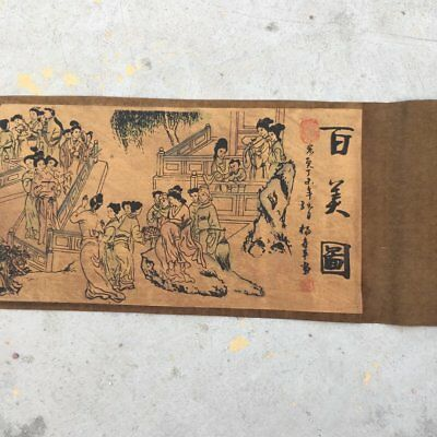 """chinese old paper painting """"hundred beauties""""  scroll painting mural"""