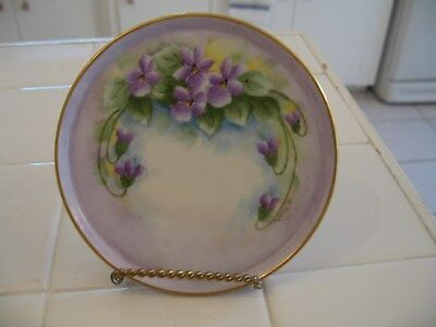 Beautiful Vintage Hand Painted And Signed Noritake Small Round Tray With Violets