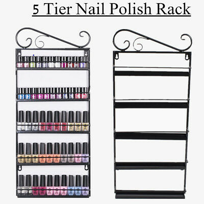 5 Tier Black Nail Polish Rack Wall Mounted Metal Display Organizer Stand UK