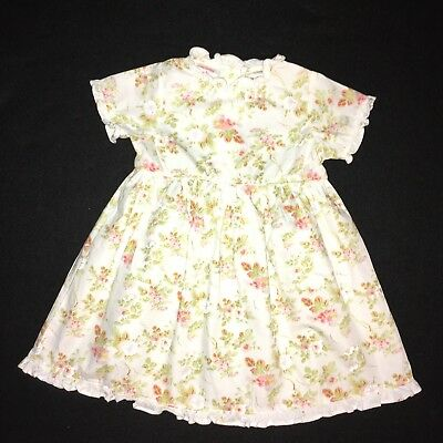 fbf3f7a4d GIRLS LAURA ASHLEY Pink Floral Corduroy Dress Smocked Size 24 Months ...