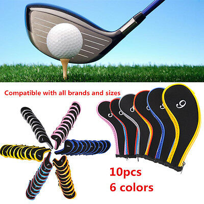 10pcs Neoprene Golf Club Covers Iron Golf Club Head Cover Protector Set Blue UK