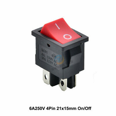DPST On/Off Red Snap-in Rectangular Rocker Switch 4 Pin 6A 250V AC 21mm x 15mm