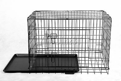 New Pet Dog Puppy Cat Training Cage Crate Carrier Metal Two Door All Sizes