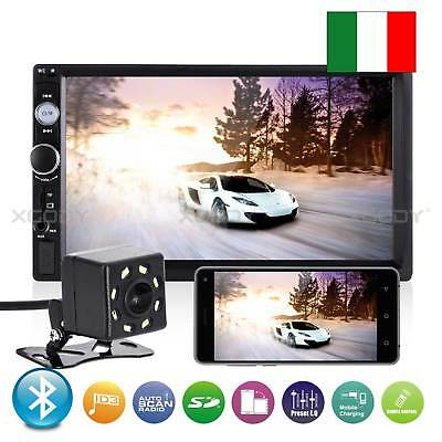 "7"" Autoradio Hd Mp5 Stereo 2 Din Lettore Radio Fm Usb Aux Bluetooth Telecamera"