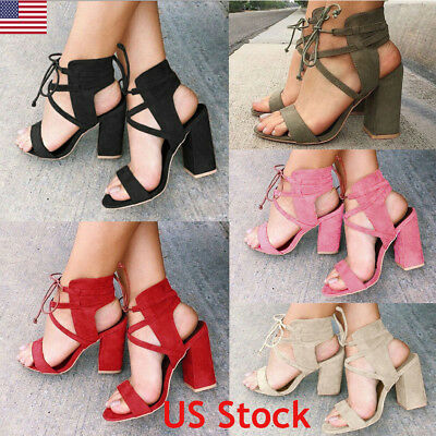 3788b0c7fdb Womens Ankle Strap Sexy Open Toe Sandals High Block Heels Party Shoes Size  New