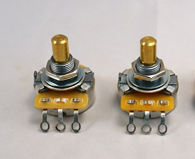 "Set of 2 - CTS Pots for Tele Guitar - Solid 1/4"" shaft - 250 k ohm - Made in USA"