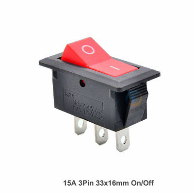 3 Pin On/Off Red Rectangle Latching Rocker Switch 15A 250V AC 33mm x 16mm