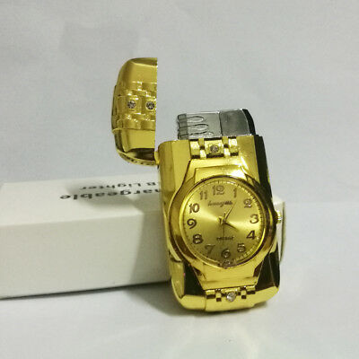 Cool Multifunctional Metal Windproof Jet Torch Gas Butane Lighter Quartz Watch