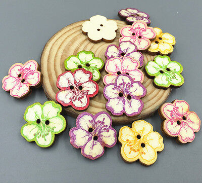 50X Wooden buttons sewing scrapbooking Cherry blossoms shape Embellishments 25mm