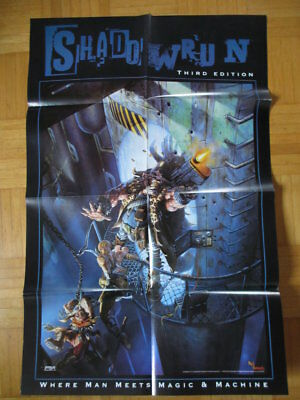 Großes SHADOWRUN POSTER Third Edition - DINA 2 Farbposter 1998 - FASA FanPro Peg