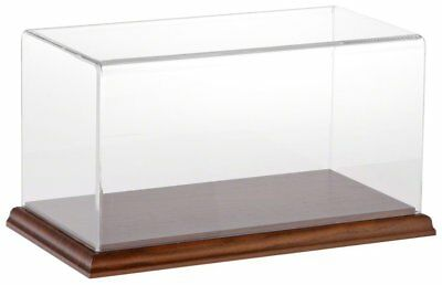 "Plymor Brand Clear Acrylic Display Case with Hardwood Base, 10"" W x 5"" D x 5"" H"