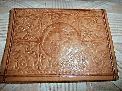 QUALITY VINTAGE REAL LEATHER WALLET ~ HAND CRAFTED in MOROCCO ~ CAMEL/FLOWERS