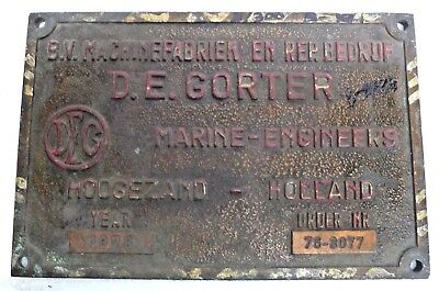 Marine Vintage Ship Nautical Brass Name Plate - D. E. Gorter Holland - 1978- B23