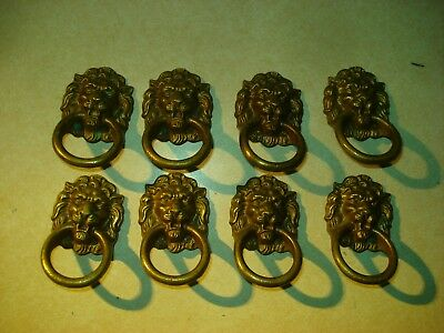 Set of 8 Antique brass lion head furniture pulls Unusual Fixed Loop *FREE SHIP*