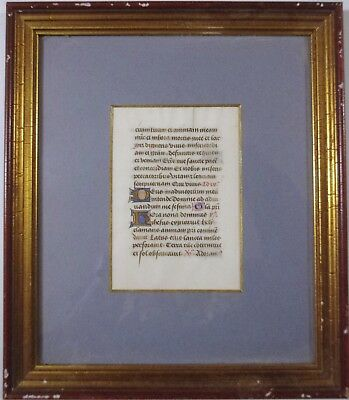 Fine Medieval Illuminated Manuscript With Hand Painted Lettering. Framed.