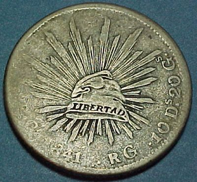 Mexico - 1841 - 8 Reales - Large Old Silver Coin - First Republic