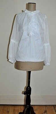 Vintage 70's Sheer Ruffle Blouse with Feature Juliet Sleeves