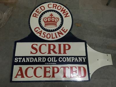 """Porcelain RED CROWN GASOLINE Sign SIZE 40"""" X 44"""" INCHES DOUBLE SIDED"""