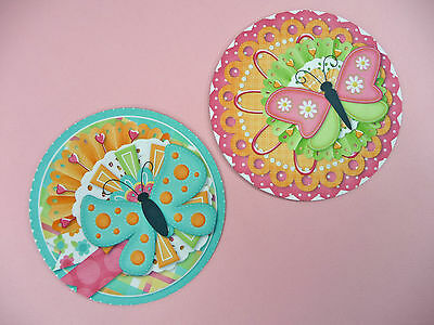 JAR OPENER Set of 2 Butterfly Round Bottle Gripper Coaster Bright Colorful Decor