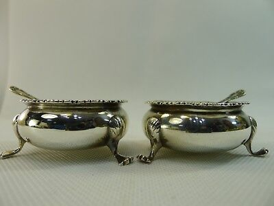 antique solid sterling silver English beautiful salt & pepper cellars & 2 spoons