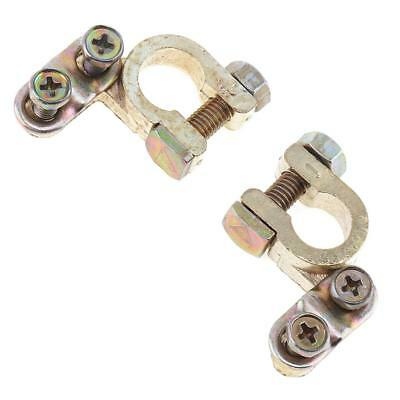 1 Pair Auto Car Replacement Battery Terminal Clips Clamp Brass Connector Gold