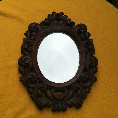 Oval Carved Oak Rococo Style Mirror