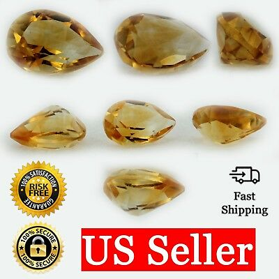 Natural 7x5 Loose Pear Shape .61ct Golden Citrine AAA