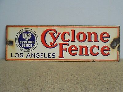 USS Cyclone Fence Porcelain Sign Los Angeles