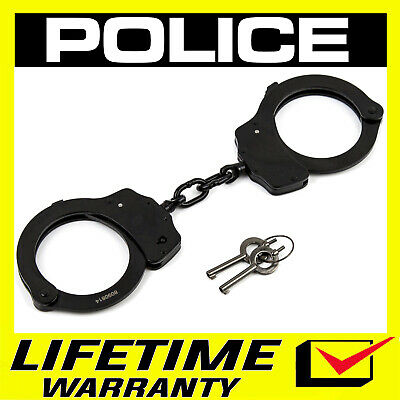 POLICE Professional Steel Handcuffs Double Lock With Keys - Black