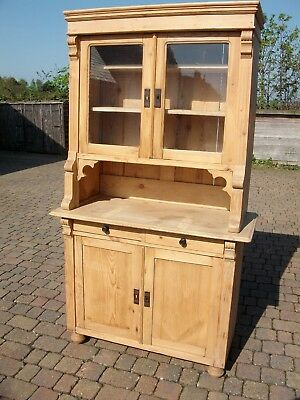 ANTIQUE PINE DRESSER, SIDEBOARD, CHEST Of DRAWERS WITH GLAZED DOORS, VINTAGE.