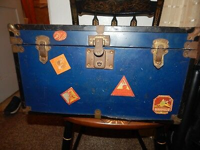 Antique Steamer Trunk Pine Brass Hardware COMES with a FREE gift