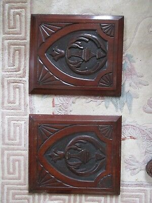 vintage pair original hand carved oak panels/beautiful condition