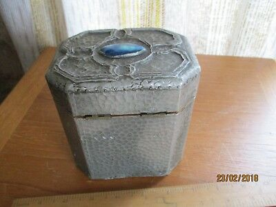 arts and crafts 1930s teacaddy/inlaid woodern lid/outer pewter design