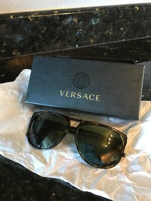 Versace Tortoise Shell Authentic Italy Womens Sunglasses With Box