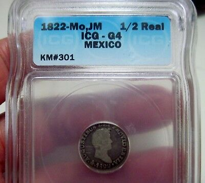 1822 Jm (Mexico) 1/2 Real (Iturbide) Silver - Very Scarce Date--One Year-   -Icg