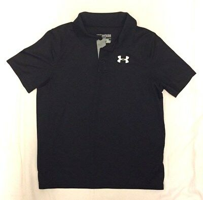 Boys Youth Large (Ylg) Loose Under Armour Heat Gear S/s Black Polo Shirt
