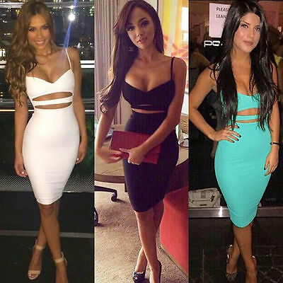 Womens Strappy Evening Party Clubwear Cocktail Bodycon Bandage Pencil Mini Dress