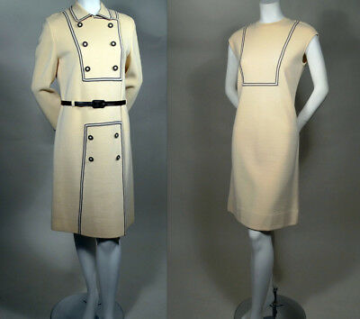 MOD! 60s Vintage Two Piece Cream Wool Knit Dress & Matching Coat_ NEUSTETERS