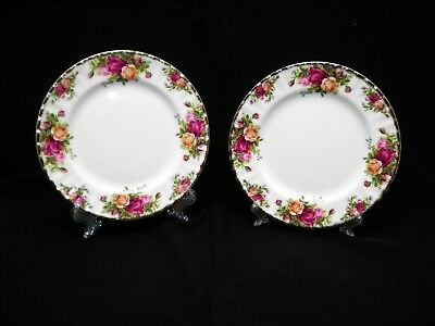 Royal Albert Old Country Roses 2 Lunch Plates 1962 Made In England Bone China