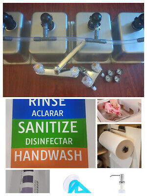 4 Compartment Portable Concession Sink, 3 Large + 1 Hand Wash & DRAIN KIT