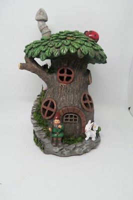 Fairy Garden Tree Chimney House with Solar Powered With LED Light Free Shipping
