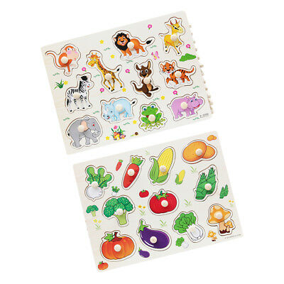 Wooden Animal & Vegetable Shaped Puzzle Kids Learning Toy Birthday Gift