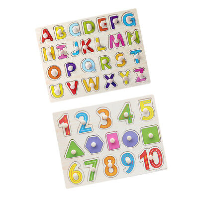 Wooden Numbers & Letters Shaped Puzzle Kids Learning Toy Birthday Gift