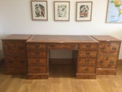 Reproduction - Brights Of Nettlebed - Desk And Two Pedestals