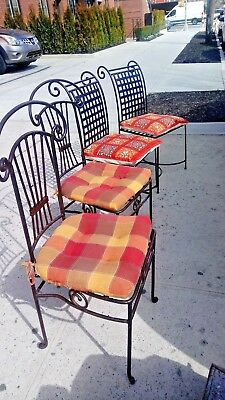 Vintage Rustic Wrought Iron,heavy,Out-indoor Dinning/Patio 4 Chairs V.Gd condit.